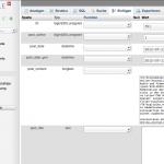 Die phpMyAdmin-Ansicht der MySQL-Datenbank dieses Blogs